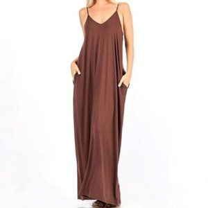 🛍 Brown Maxi with Pockets